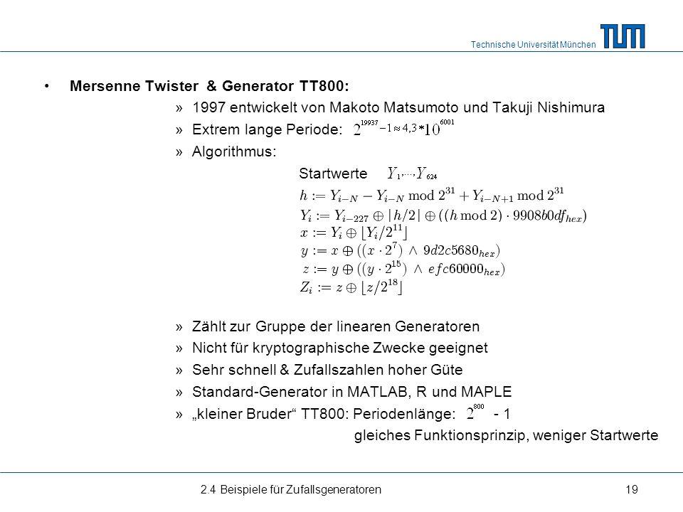 Mersenne Twister & Generator TT800: