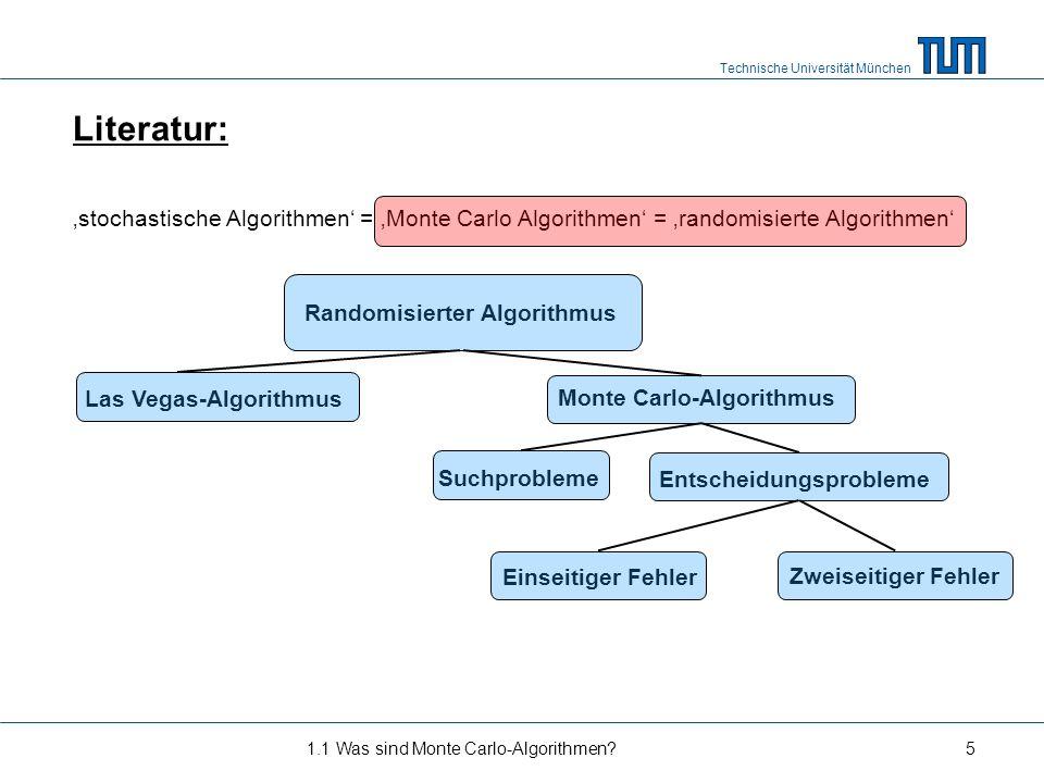 Literatur: 'stochastische Algorithmen' = 'Monte Carlo Algorithmen' = 'randomisierte Algorithmen' Randomisierter Algorithmus.