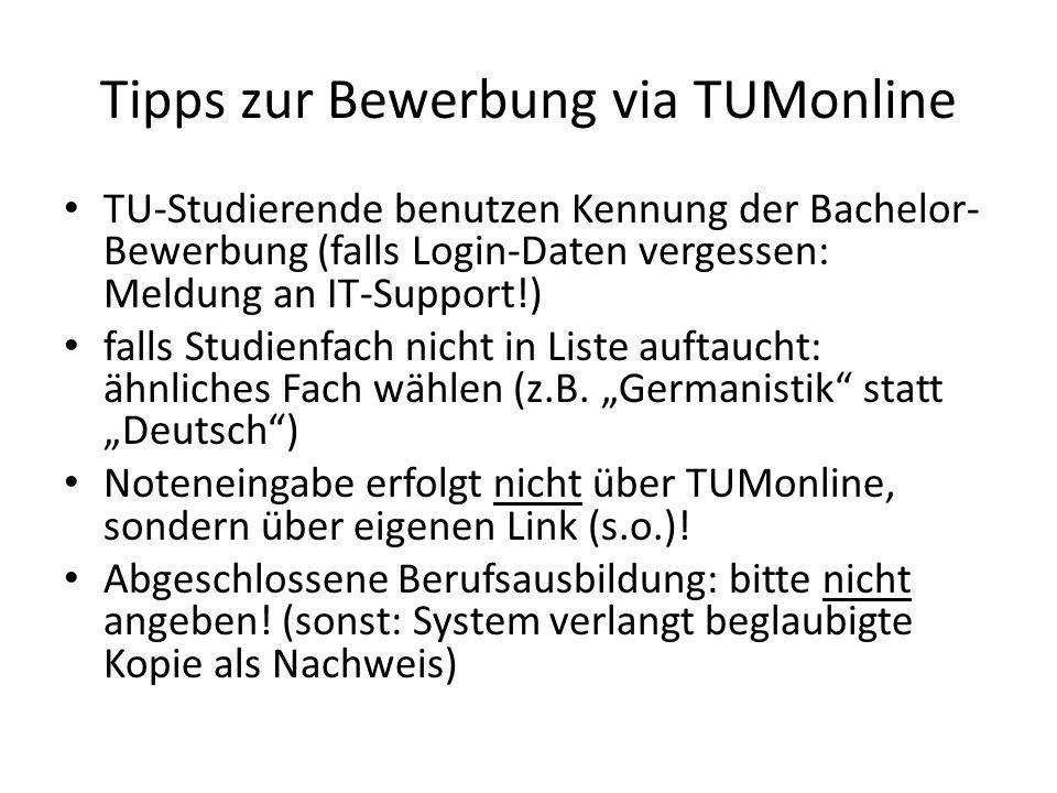 Tipps zur Bewerbung via TUMonline