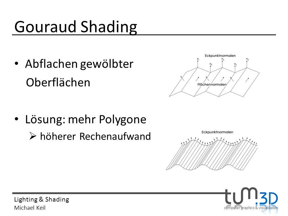 Gouraud Shading Abflachen gewölbter Oberflächen Lösung: mehr Polygone