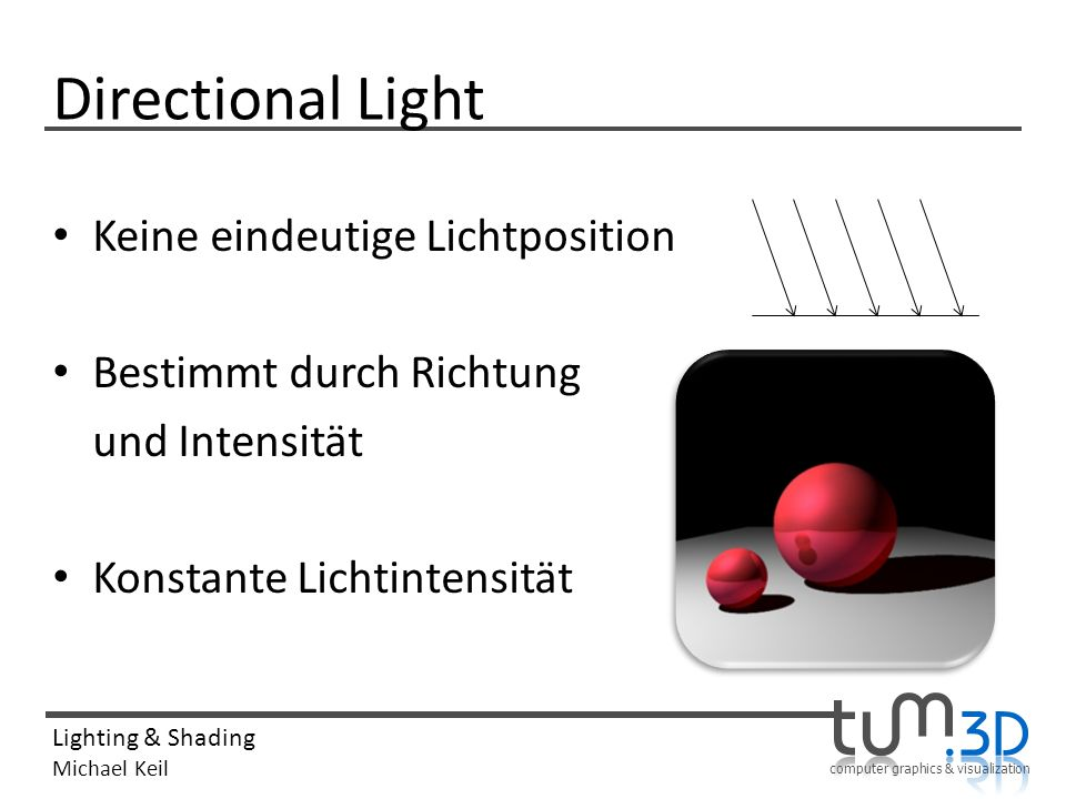 Directional Light Keine eindeutige Lichtposition