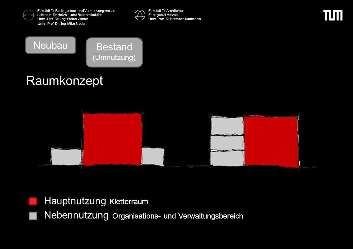 Raumkonzept Neubau Bestand Bestand Hauptnutzung Kletterraum