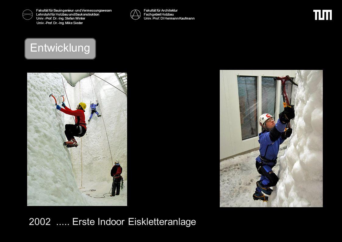 Entwicklung 2002 ..... Erste Indoor Eiskletteranlage