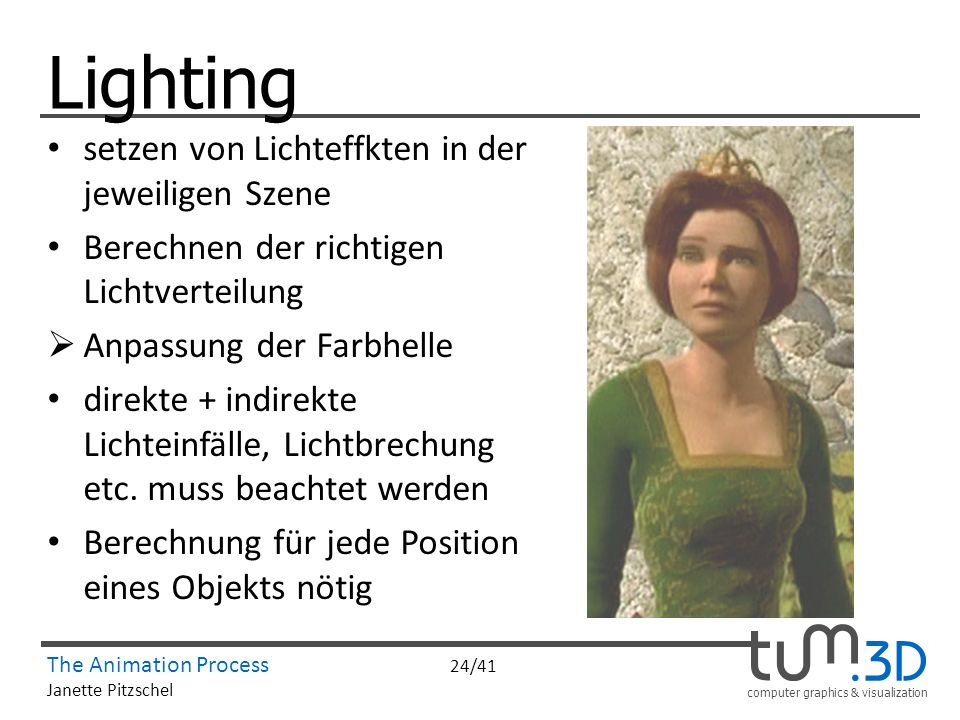 Lighting setzen von Lichteffkten in der jeweiligen Szene