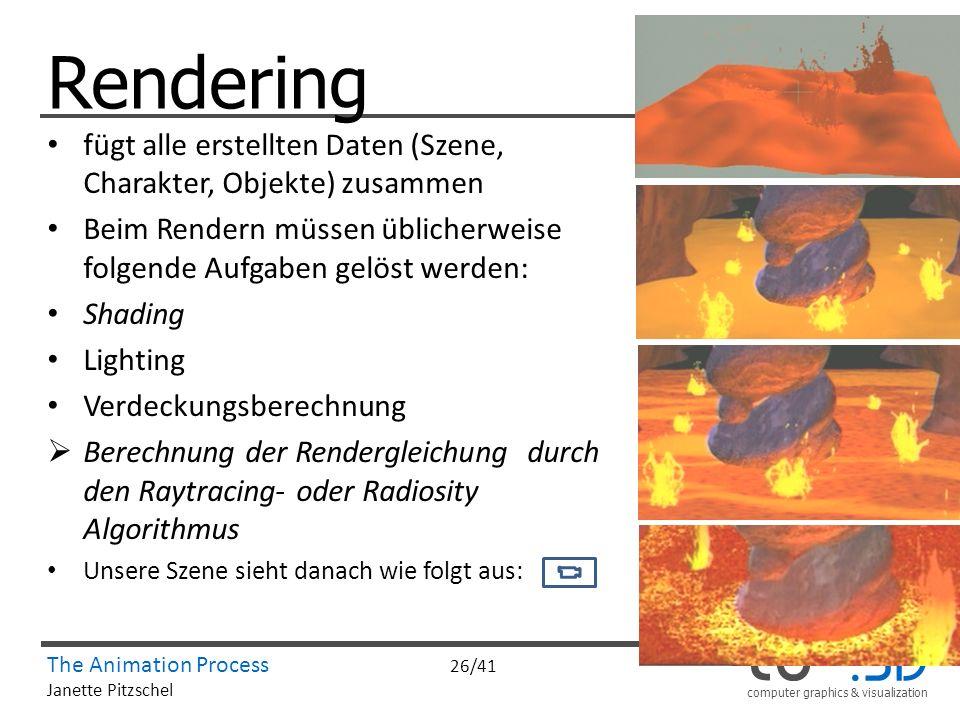 Rendering fügt alle erstellten Daten (Szene, Charakter, Objekte) zusammen. Beim Rendern müssen üblicherweise folgende Aufgaben gelöst werden: