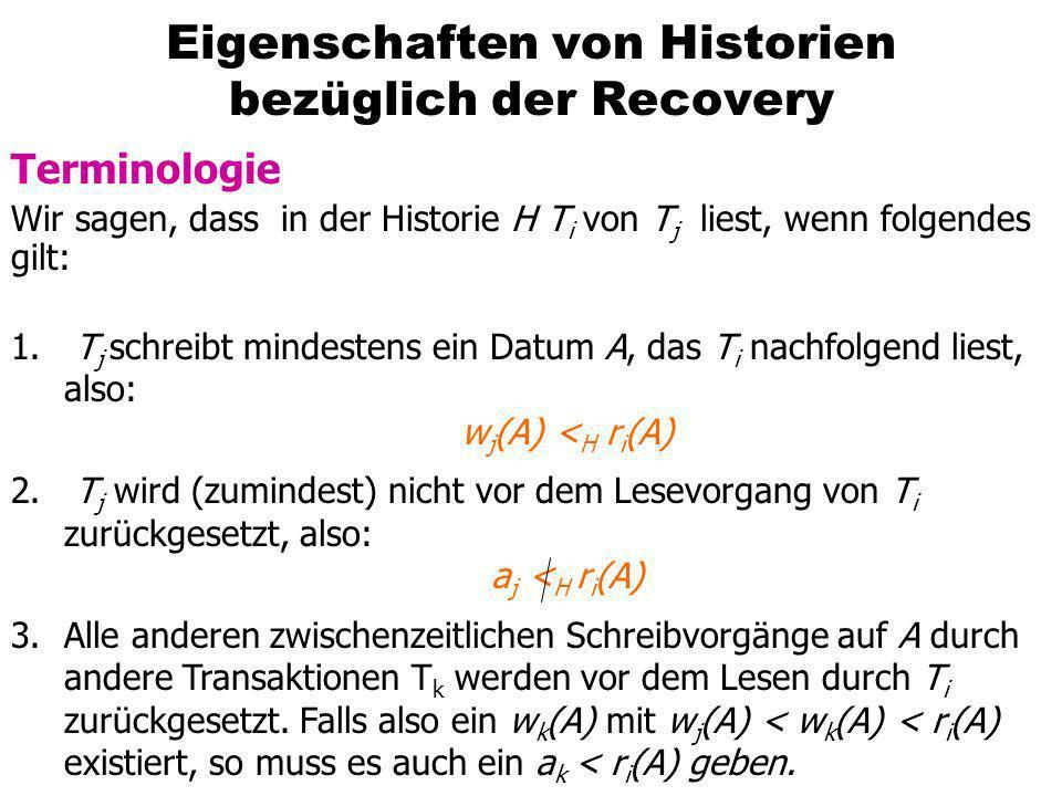 Eigenschaften von Historien bezüglich der Recovery