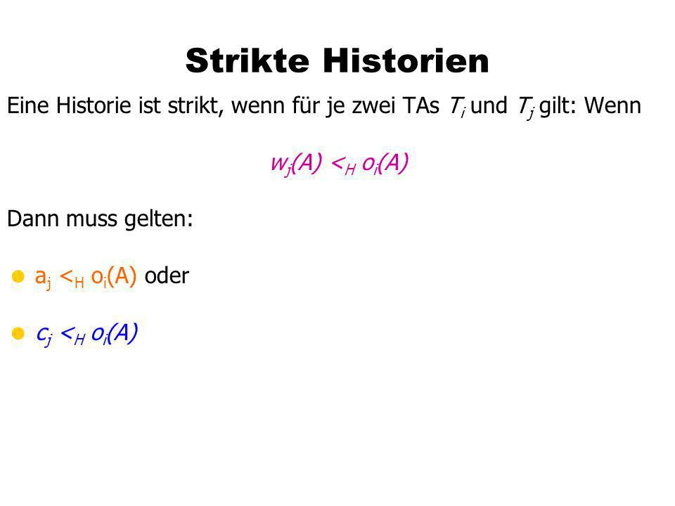 Strikte Historien Eine Historie ist strikt, wenn für je zwei TAs Ti und Tj gilt: Wenn. wj(A) <H oi(A)