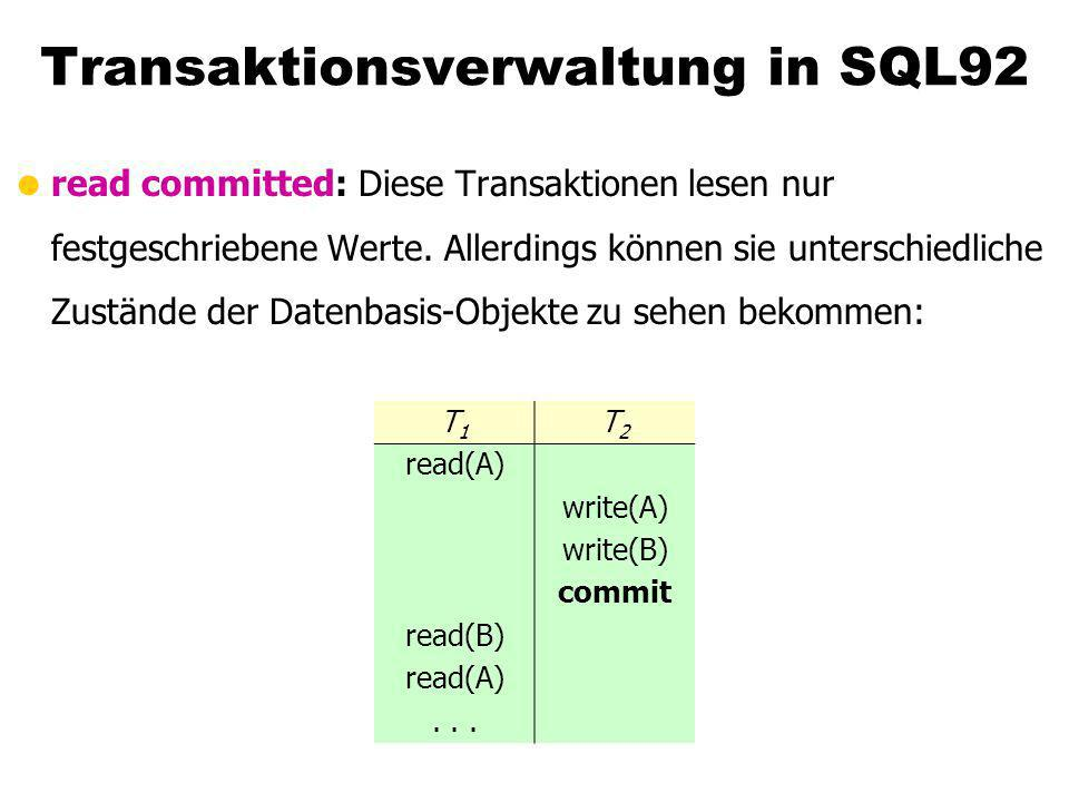 Transaktionsverwaltung in SQL92