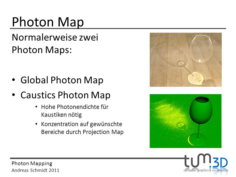 Photon Map Normalerweise zwei Photon Maps: Global Photon Map