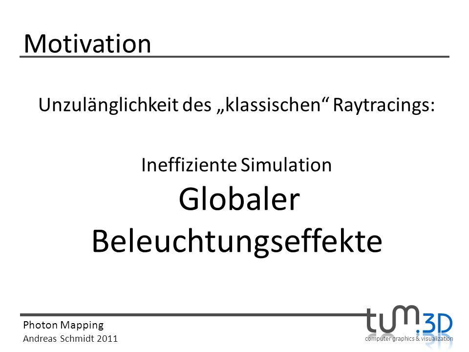 """Motivation Unzulänglichkeit des """"klassischen Raytracings: Ineffiziente Simulation Globaler Beleuchtungseffekte"""
