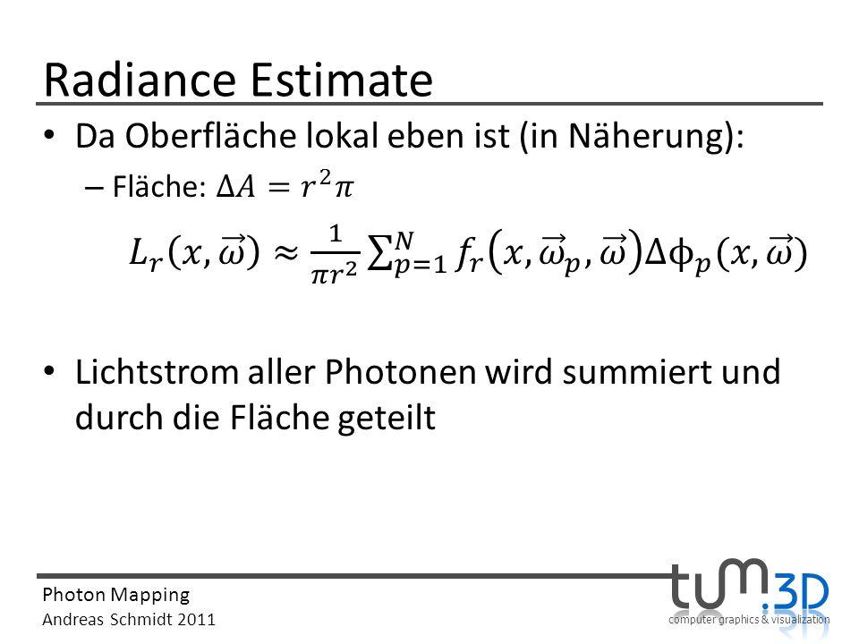 Radiance Estimate Da Oberfläche lokal eben ist (in Näherung):