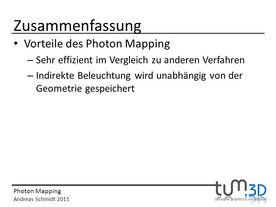 Zusammenfassung Vorteile des Photon Mapping