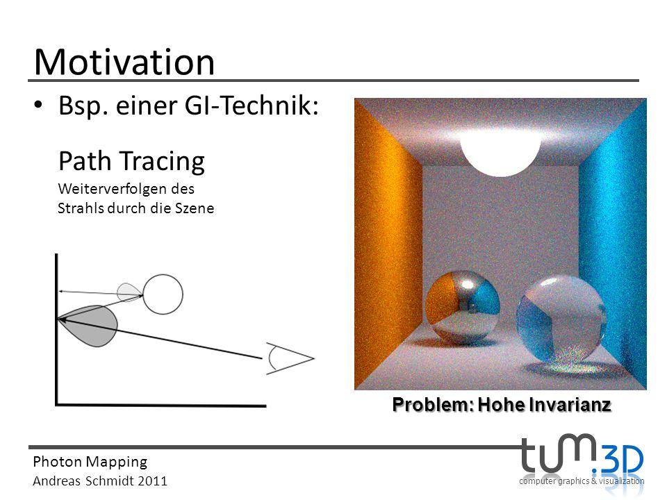 Motivation Bsp. einer GI-Technik: Path Tracing Weiterverfolgen des Strahls durch die Szene.