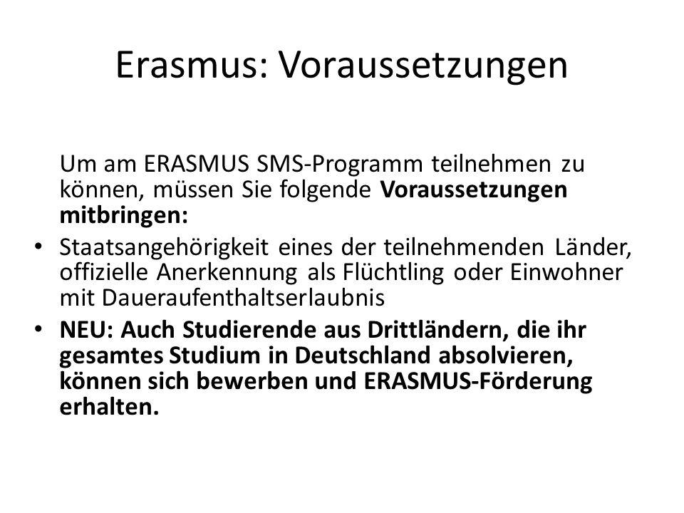 Erasmus: Voraussetzungen