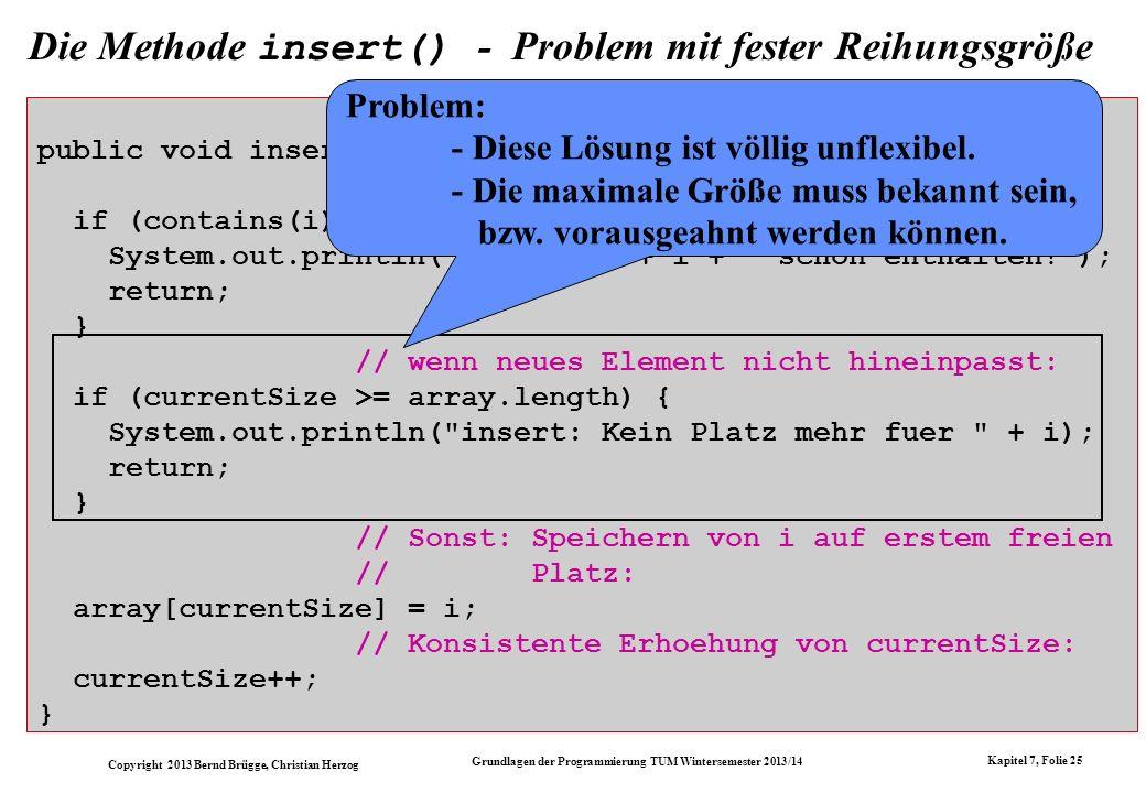 Die Methode insert() - Problem mit fester Reihungsgröße