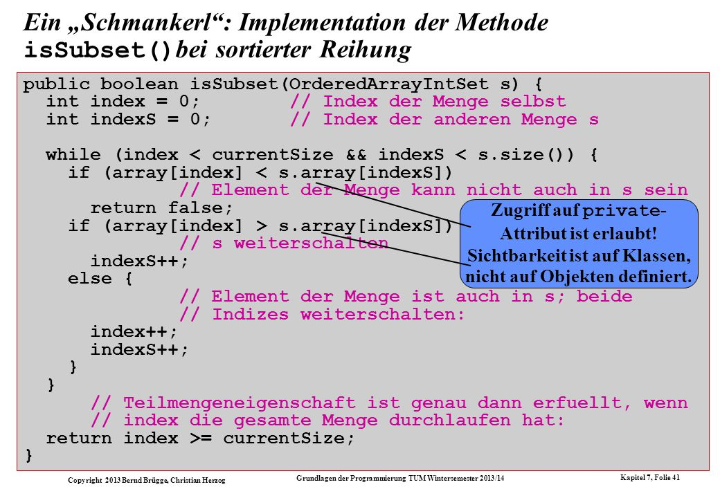 "Ein ""Schmankerl : Implementation der Methode isSubset()bei sortierter Reihung"