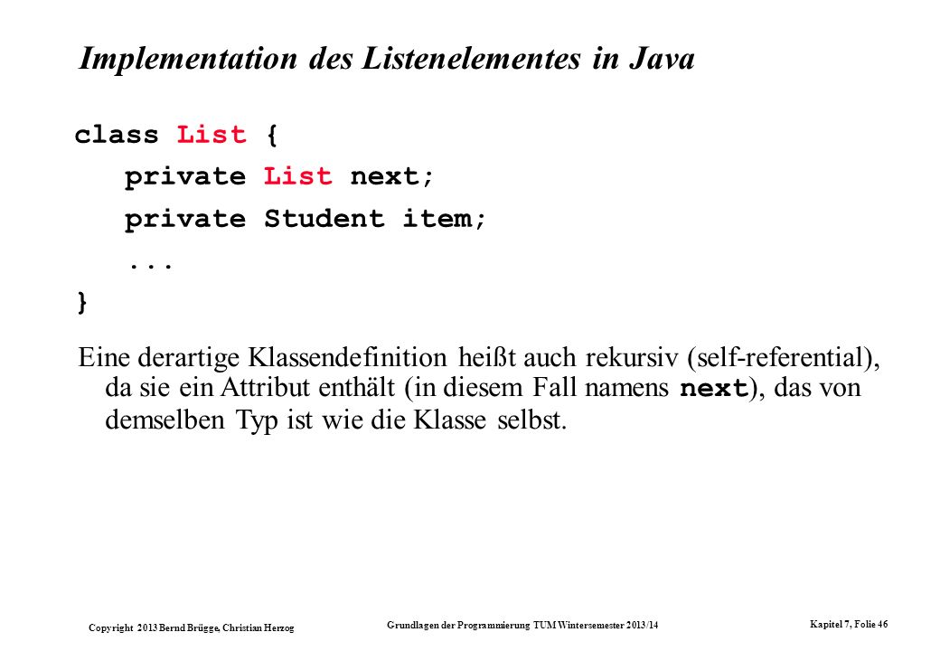 Implementation des Listenelementes in Java