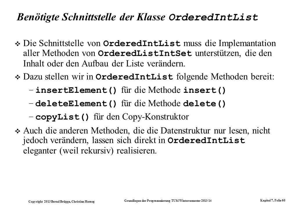 Benötigte Schnittstelle der Klasse OrderedIntList