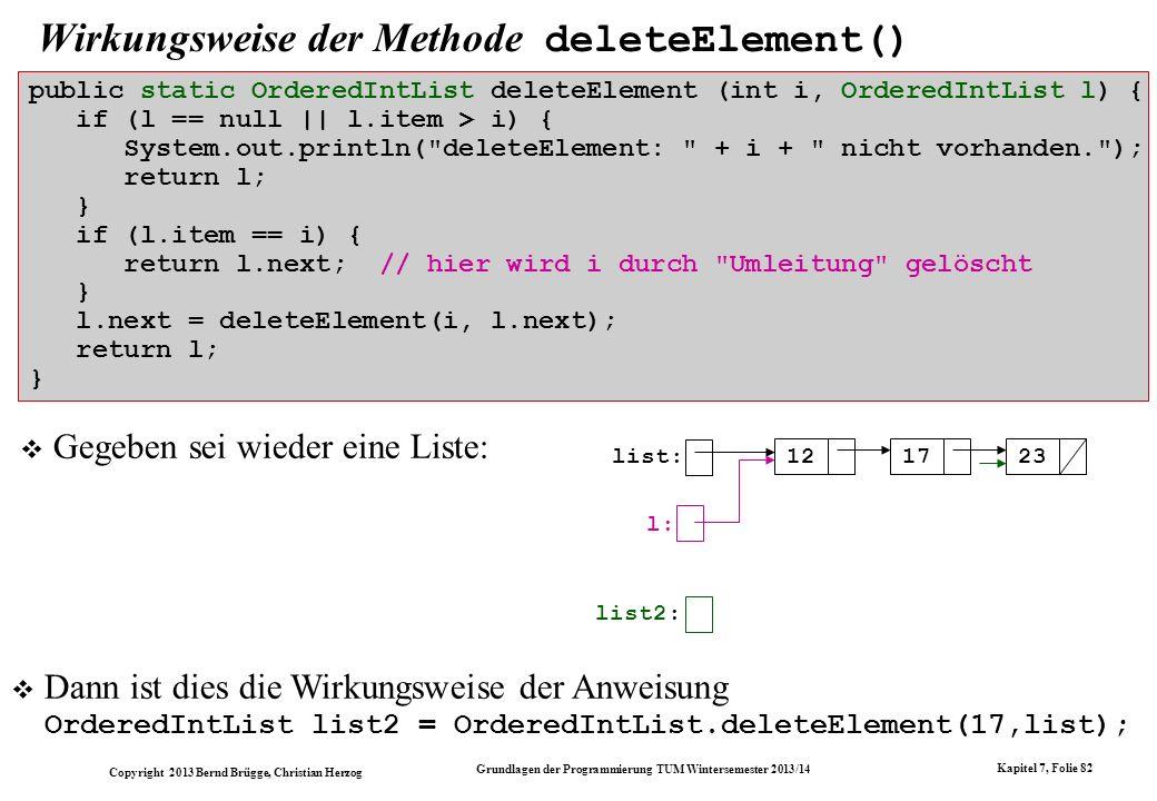 Wirkungsweise der Methode deleteElement()
