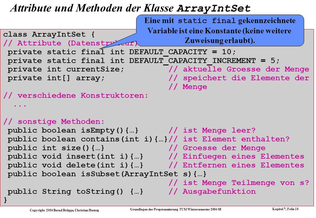 Attribute und Methoden der Klasse ArrayIntSet