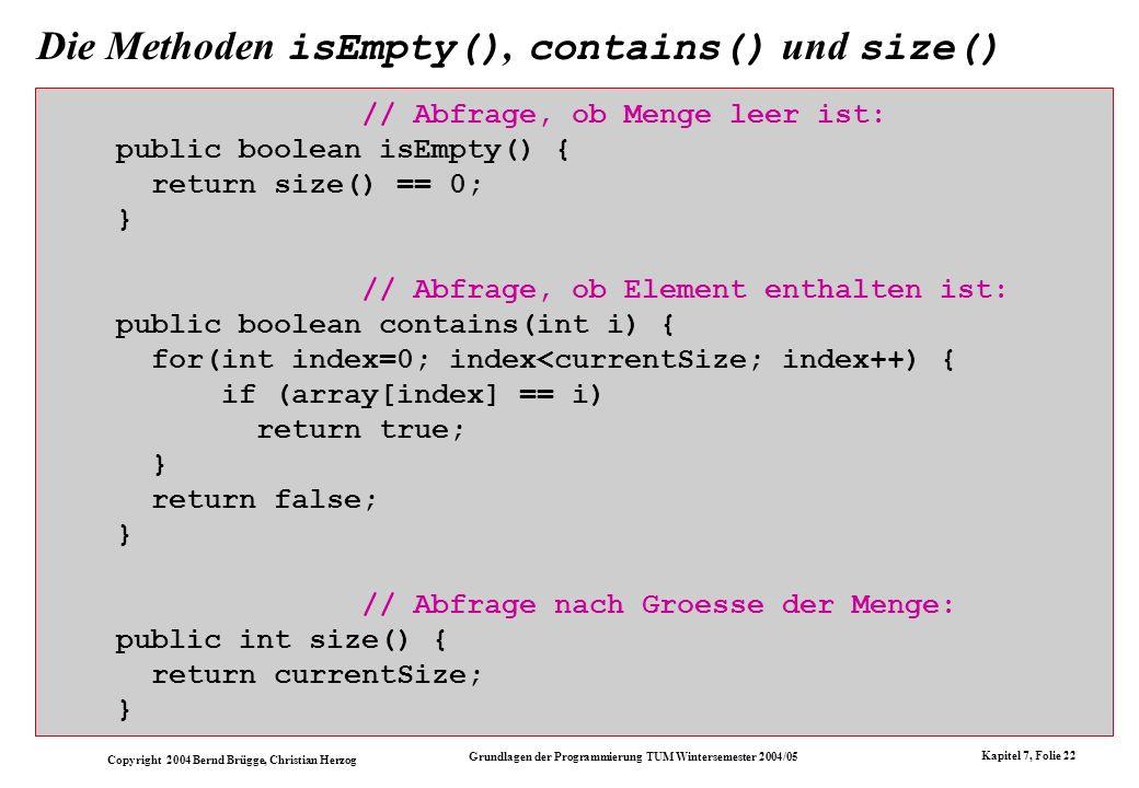 Die Methoden isEmpty(), contains() und size()