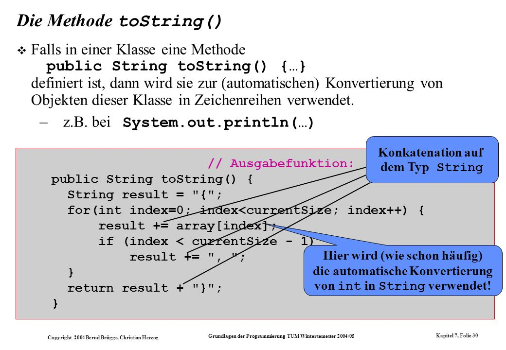 Die Methode toString()