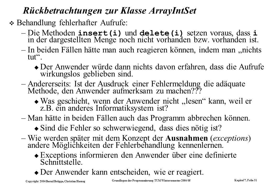 Rückbetrachtungen zur Klasse ArrayIntSet