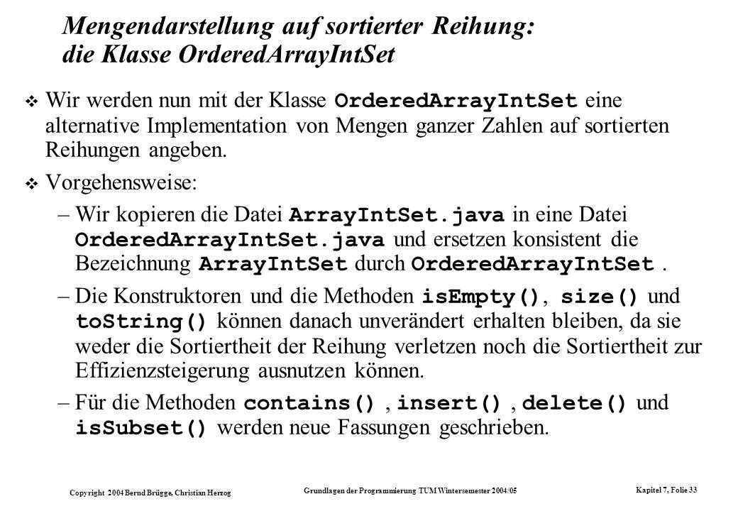 Mengendarstellung auf sortierter Reihung: die Klasse OrderedArrayIntSet