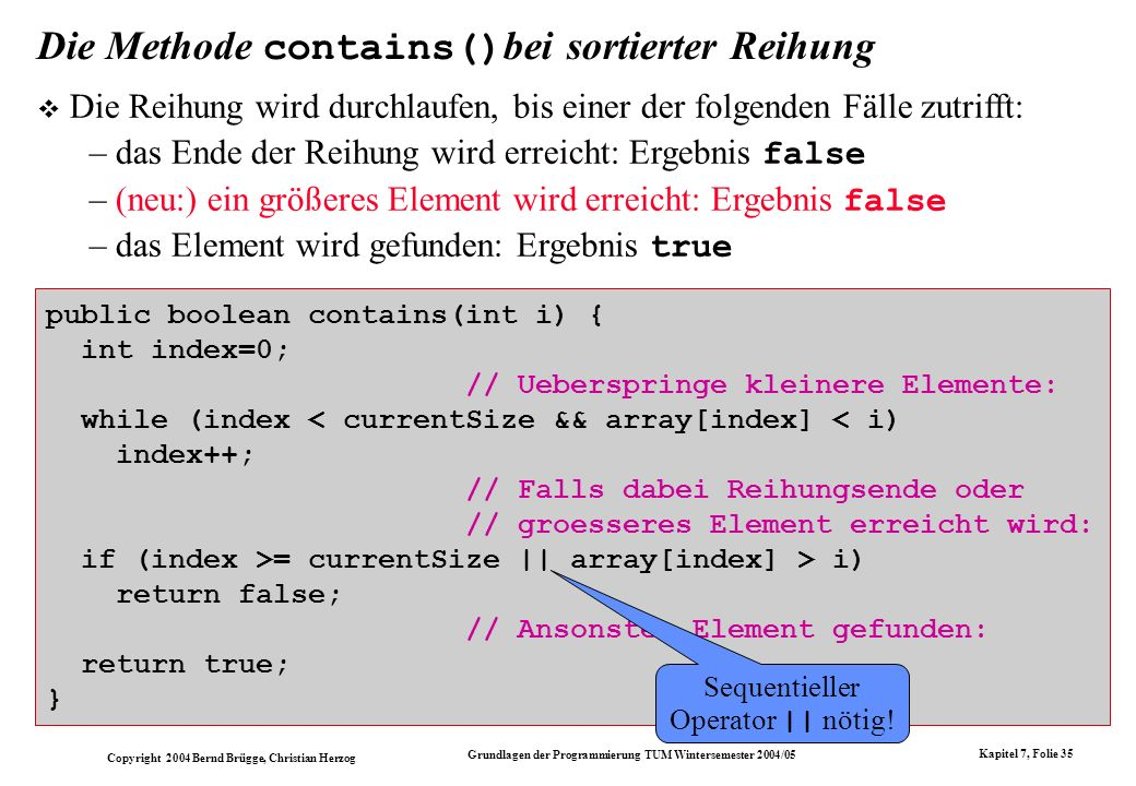 Die Methode contains()bei sortierter Reihung