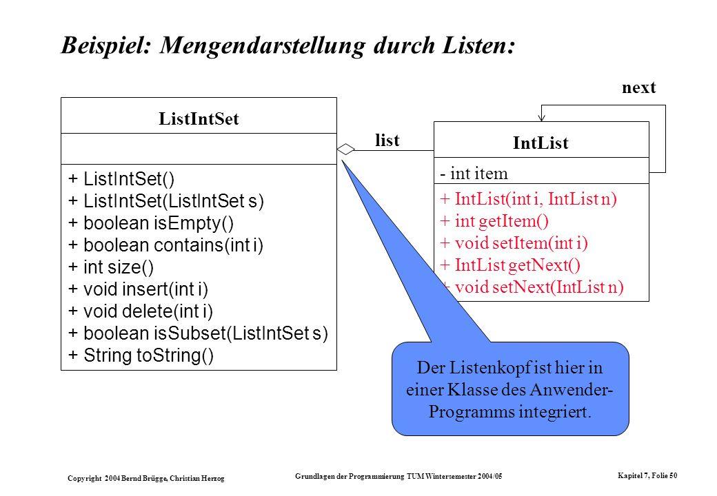 Beispiel: Mengendarstellung durch Listen: