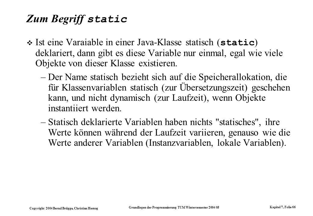 Zum Begriff static
