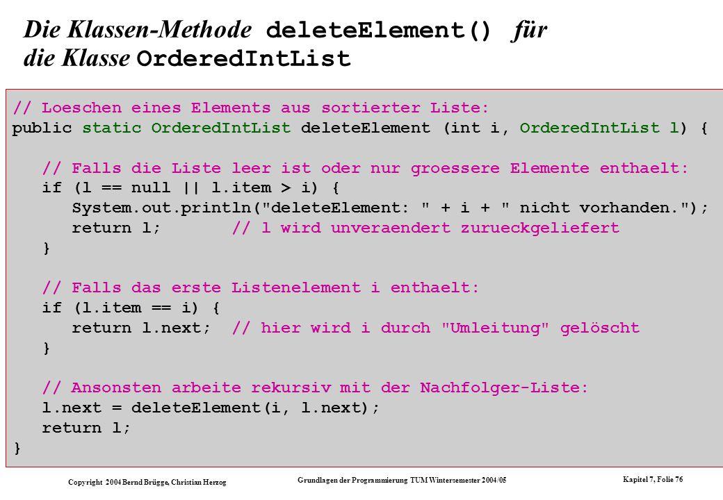 Die Klassen-Methode deleteElement() für die Klasse OrderedIntList