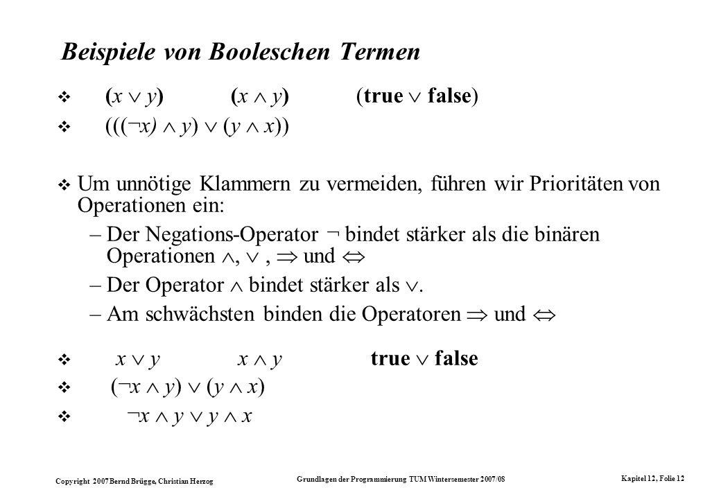 Beispiele von Booleschen Termen