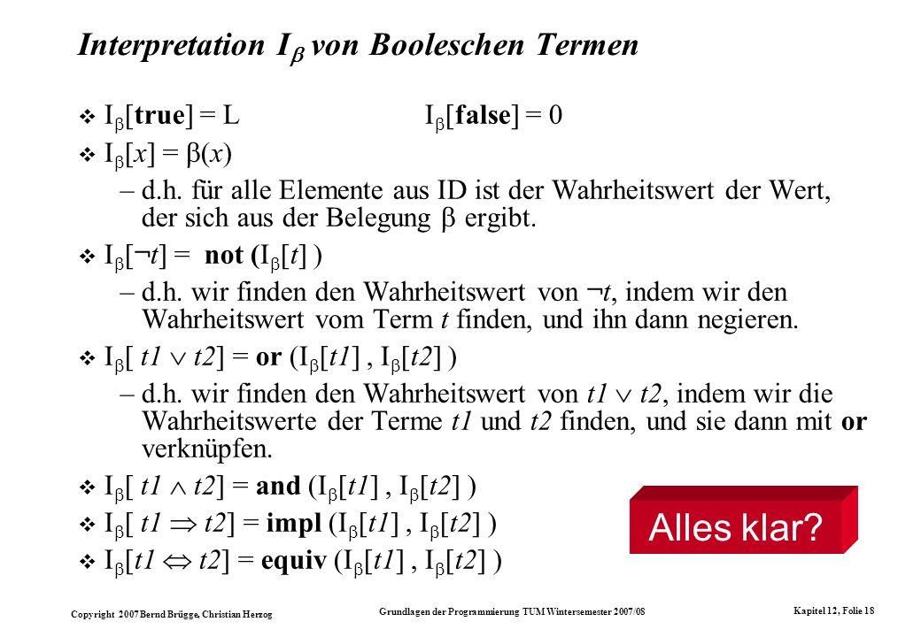 Interpretation I von Booleschen Termen