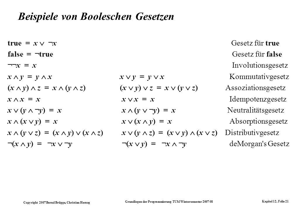 Beispiele von Booleschen Gesetzen