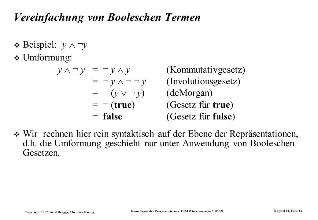 Vereinfachung von Booleschen Termen