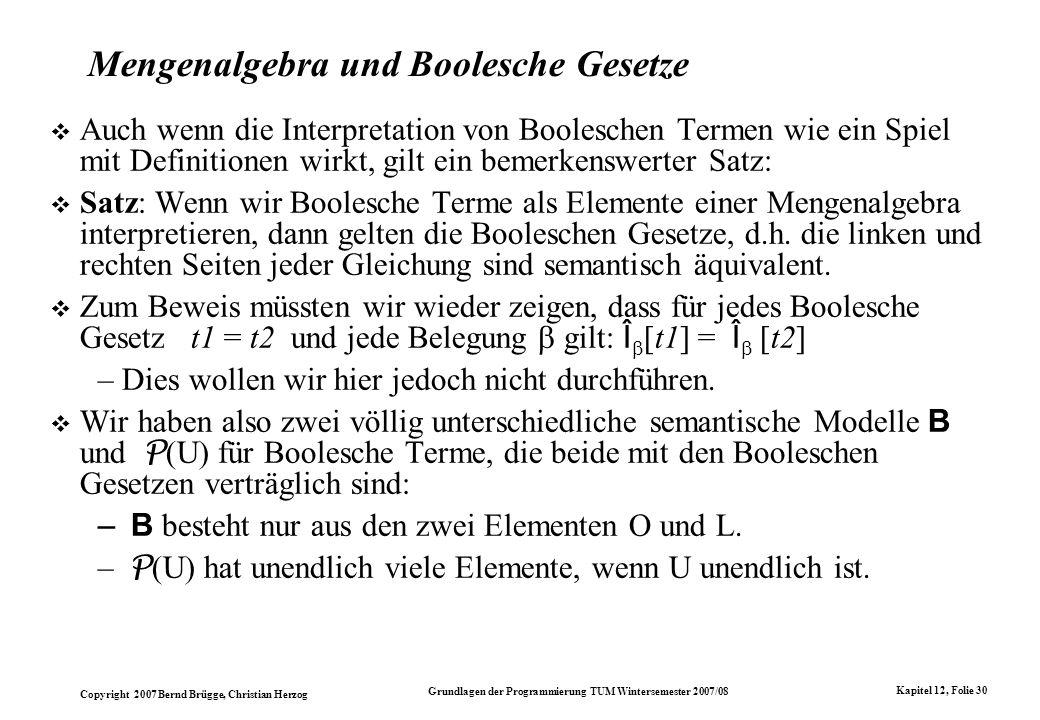 Mengenalgebra und Boolesche Gesetze