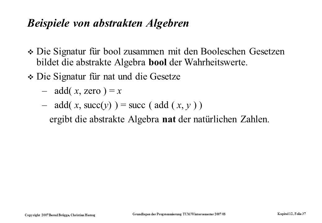 Beispiele von abstrakten Algebren
