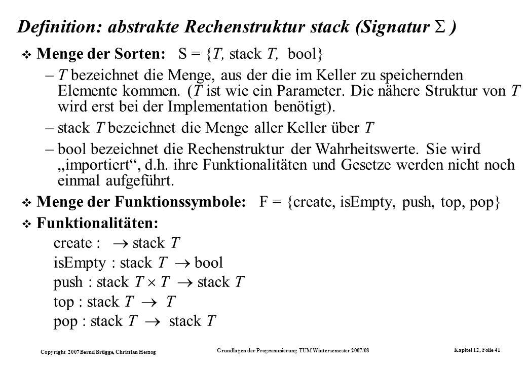 Definition: abstrakte Rechenstruktur stack (Signatur  )