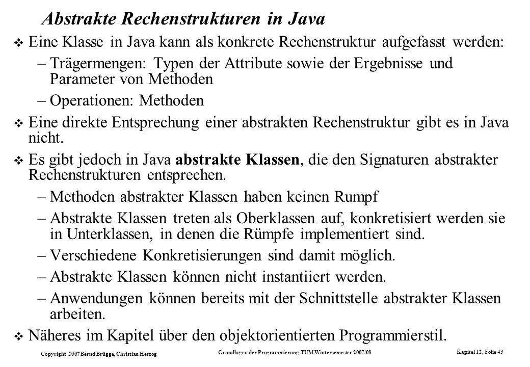 Abstrakte Rechenstrukturen in Java