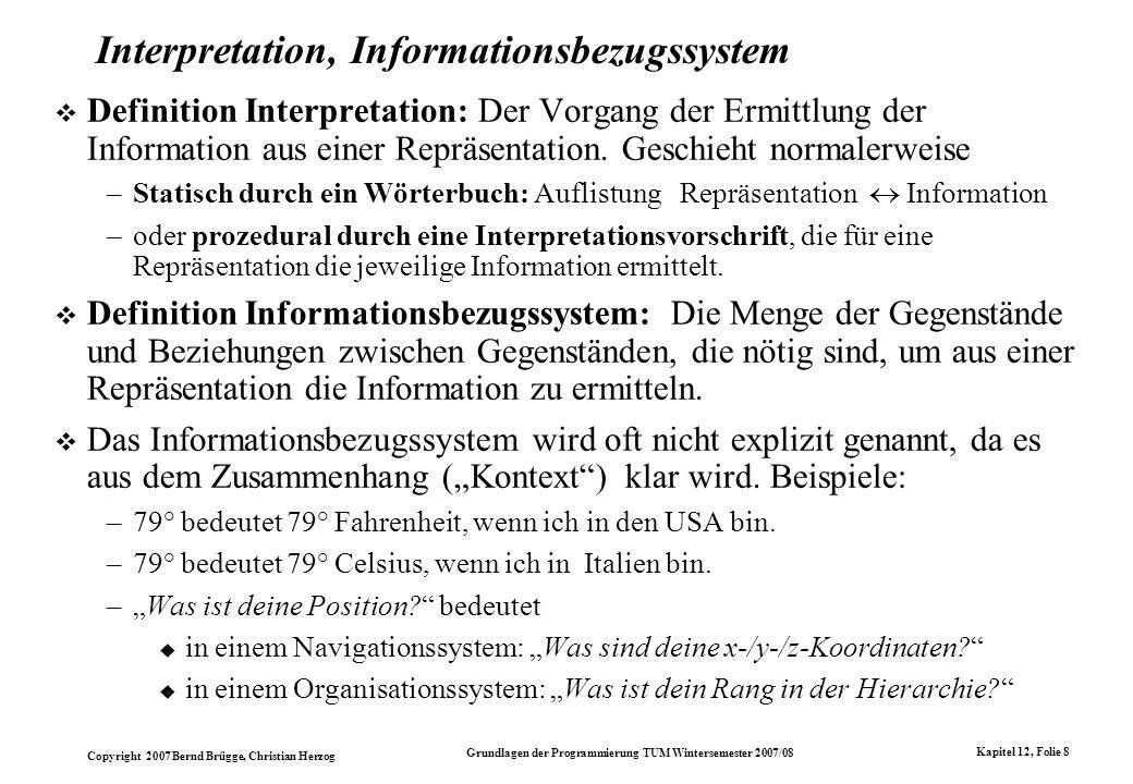 Interpretation, Informationsbezugssystem