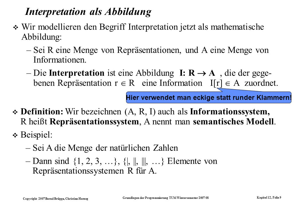 Interpretation als Abbildung