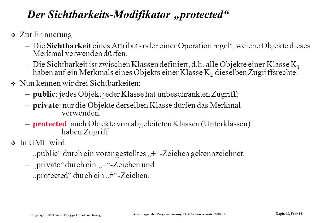 "Der Sichtbarkeits-Modifikator ""protected"