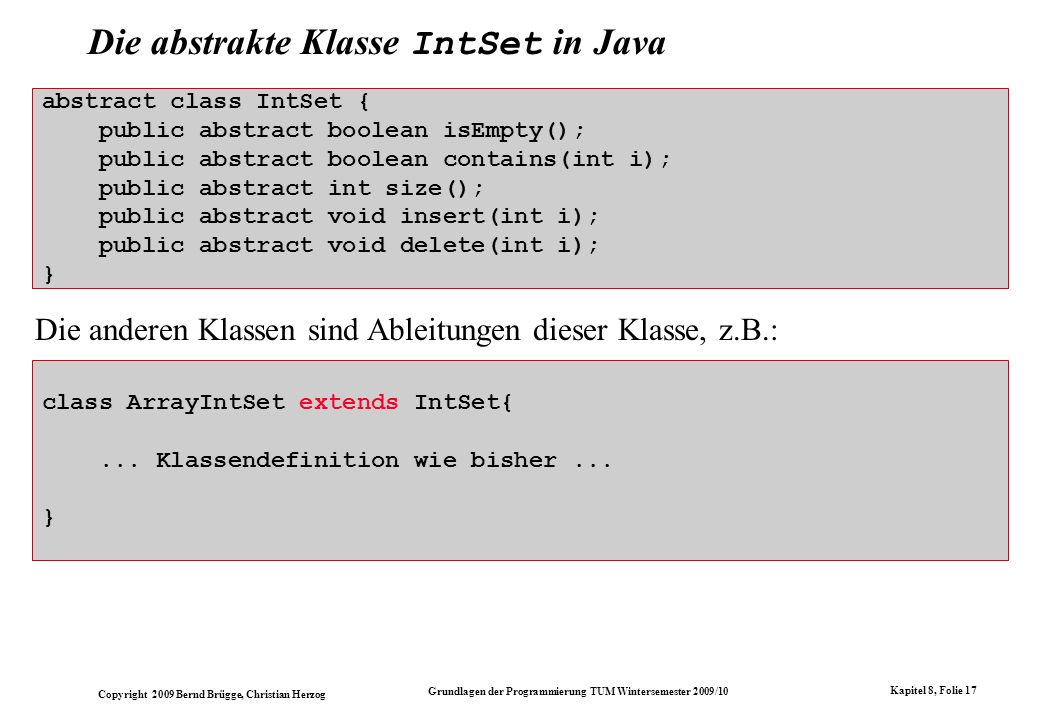 Die abstrakte Klasse IntSet in Java
