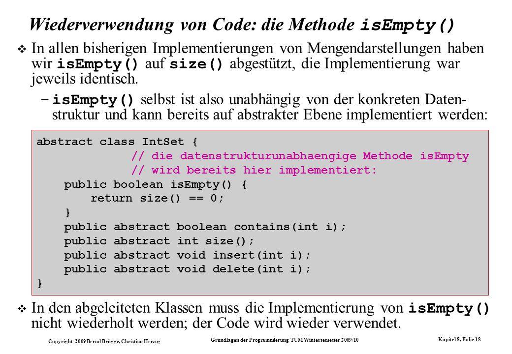 Wiederverwendung von Code: die Methode isEmpty()