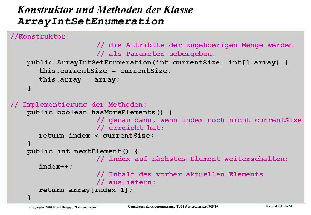 Konstruktor und Methoden der Klasse ArrayIntSetEnumeration