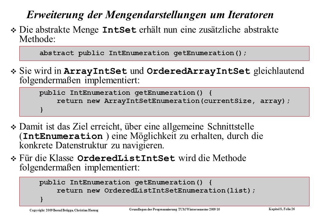 Erweiterung der Mengendarstellungen um Iteratoren