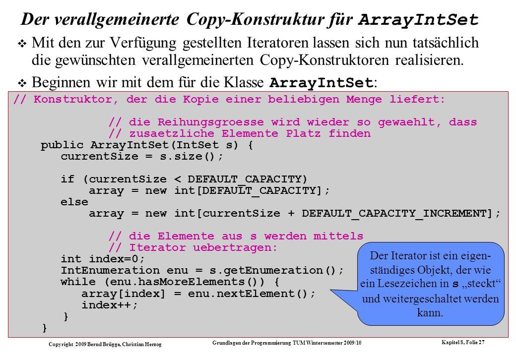 Der verallgemeinerte Copy-Konstruktur für ArrayIntSet