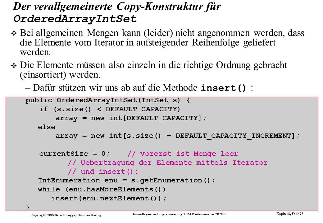 Der verallgemeinerte Copy-Konstruktur für OrderedArrayIntSet