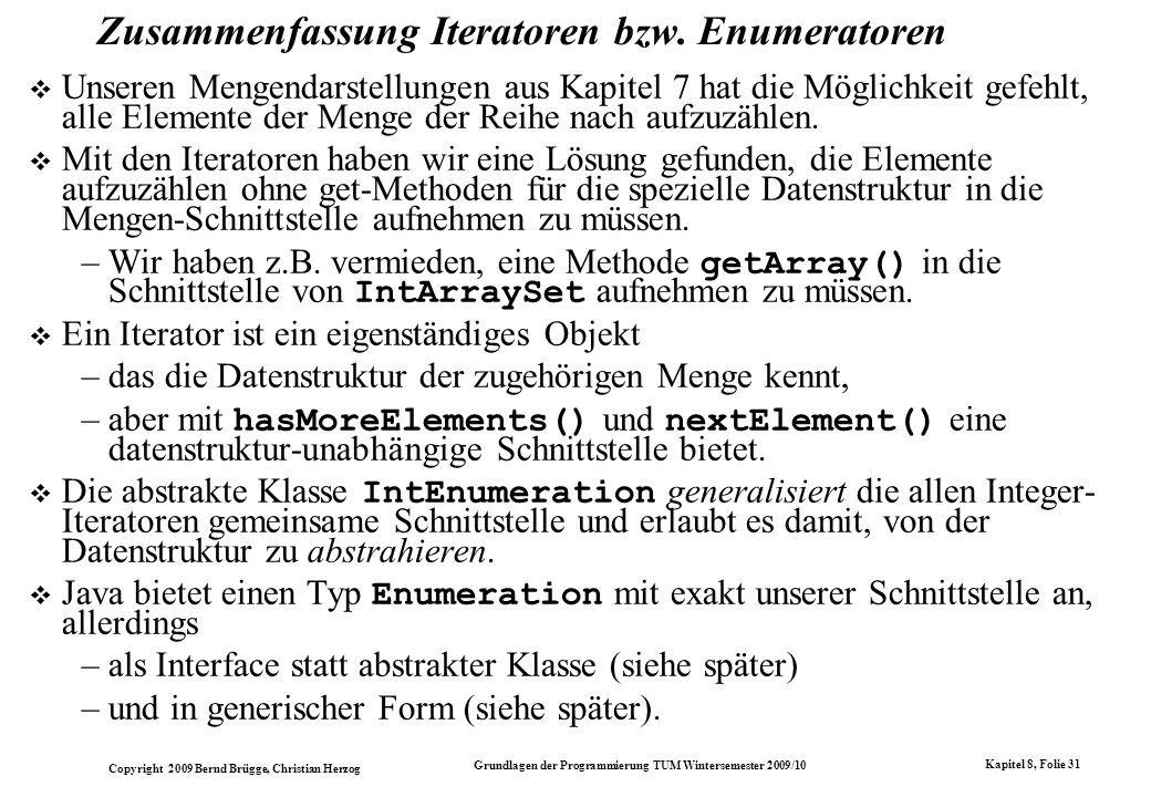 Zusammenfassung Iteratoren bzw. Enumeratoren
